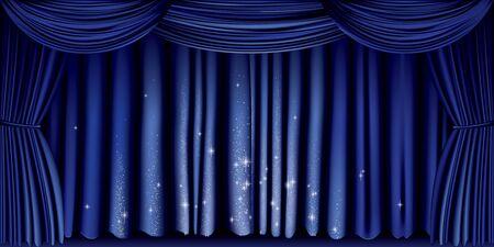Gran cortina azul con vector completo brillo de plata Foto de archivo - 81690484