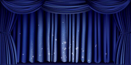 Large blue curtain with silver glitter full vector