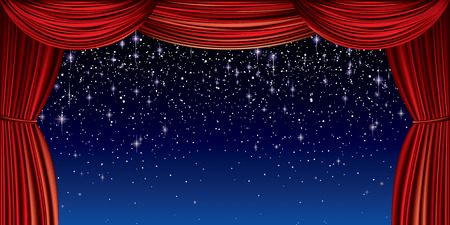 Large red curtain with silver glitter full vector