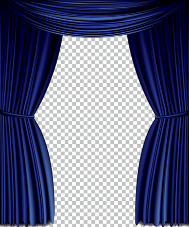 Blue curtain full vector isolated on a transparent background
