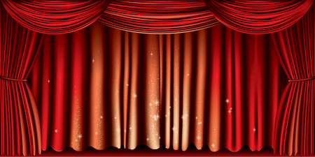 Large red curtain with gold glitter full vector