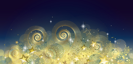 Black and gold fairy night banner full vector