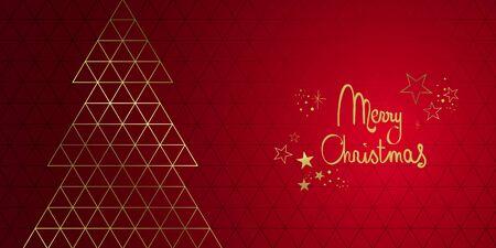 Merry Christmas geometric design banner full vector Illustration
