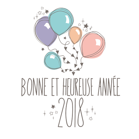 sleek: French Sweet Happy new year card full vector