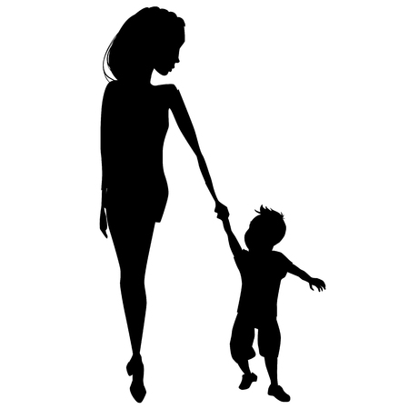 Mother and child peacefully walking, vector illustration. Illustration