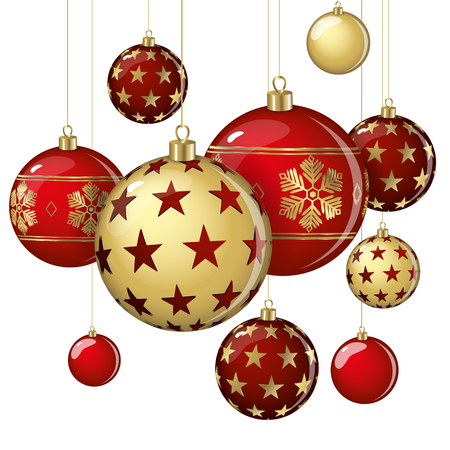 Hanging vector Christmas balls on a white background. Stok Fotoğraf - 89886517