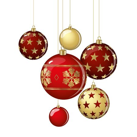 Hanging vector Christmas balls on a white background.