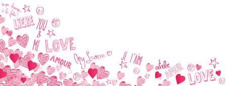 International Love doodles full vector large banner