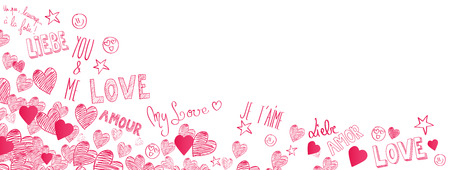 International Love doodles full vector large banner