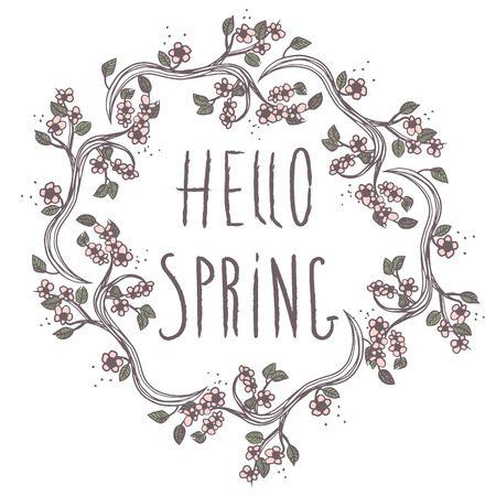 Hello spring leaves sweet vector illustration background