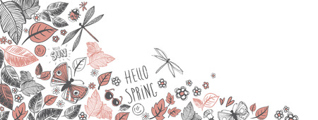 Sweet spring doodles full vector large banner