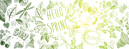 Sweet spring doodles with butterfly and leaves vector large banner