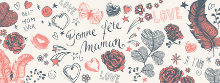 French Happy Mother's Day full vector large banner with heart and flowers