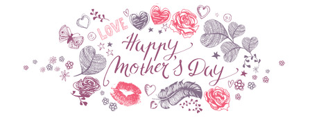 Happy Mothers Day full vector large banner with heart  and flowers Illustration