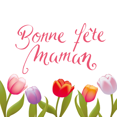 French Handwritten Happy Mothers Day vector background Illustration