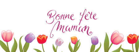 French Happy Mothers Day full vector large banner Illustration