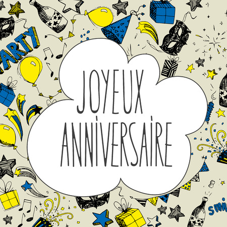French Happy Birthday doodles full vector large banner