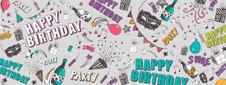 Happy Birthday doodles full vector large banner