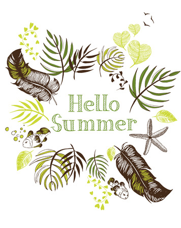Hello summer illustration  with a frame of leaves and feathers