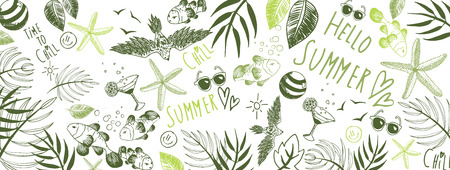 Sweet summer doodles full vector large banner