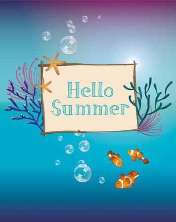 Hello summer text design with fishes on sea background. Ilustração