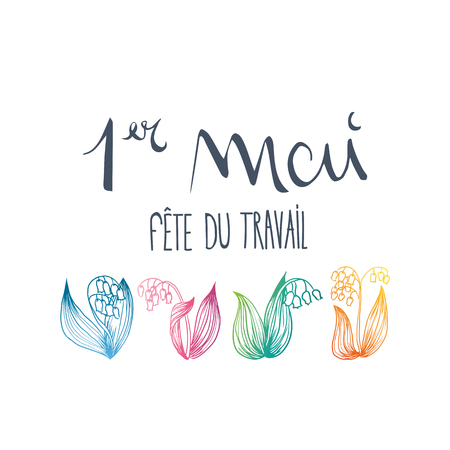 French 1st may thrush flower vector illustration design.