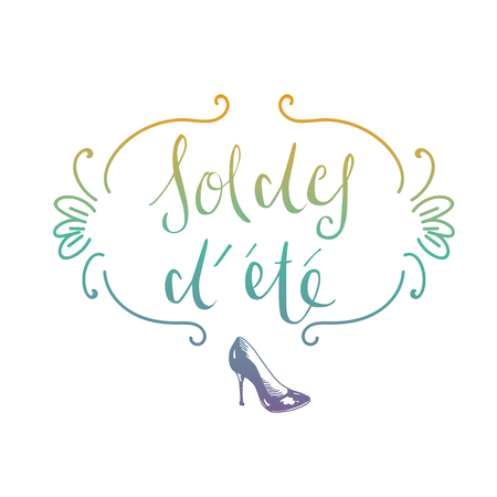 French summer sale handwritten type doodle illustration
