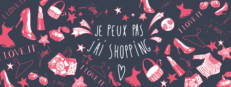 French I cant I have to go shopping doodles background