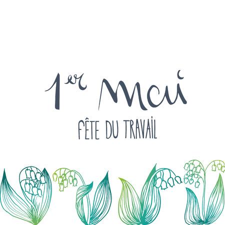 French 1st may thrush flower vector illustration