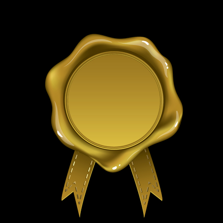 Golden wax seal isolated on black background Vector illustration. Illustration