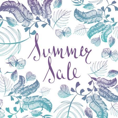 Summer Sale background handwritten type doodle illustration