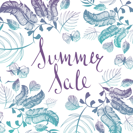 Summer Sale background handwritten type doodle illustration