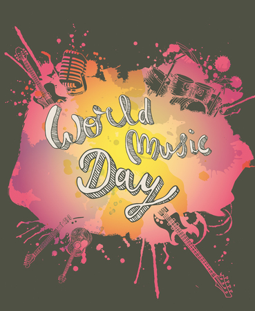 World Music Day instruments illustration doodles