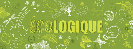 french ecologic green illustrations doodles vector banner