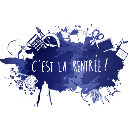 French Back to school doodles vector background