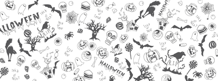 Halloween funny doodles full vector large banner Illustration