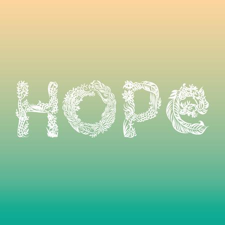 Hope illustrated word on sweet pastel background
