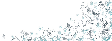 Sweet winter doodles full vector large banner