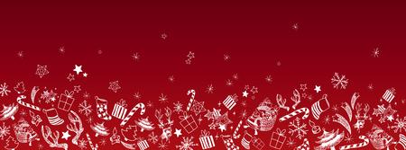 Sweet christmas doodles full vector large banner Illustration