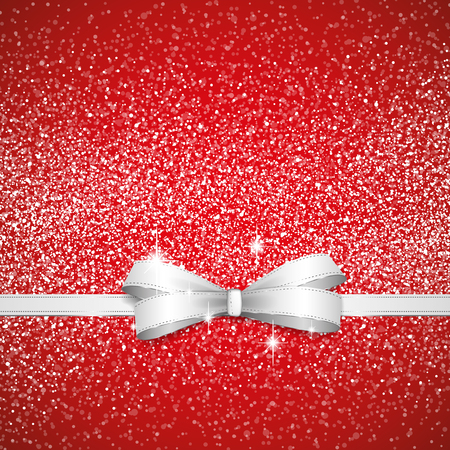 Christmas red bow full vector shining background Illustration