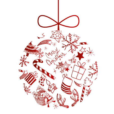 Sweet vector christmas ball illustrated with doodles