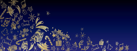 Sweet christmas doodles full vector large banner Illustration