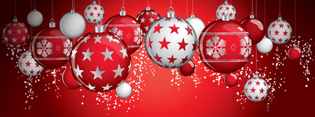 Hanging vector christmas balls on a red background