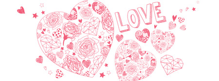 Valentines day doodles illustrations full vector banner Illustration