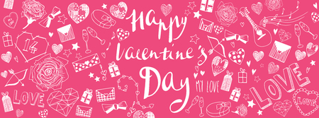 Valentines day doodles illustrations full vector banner Иллюстрация