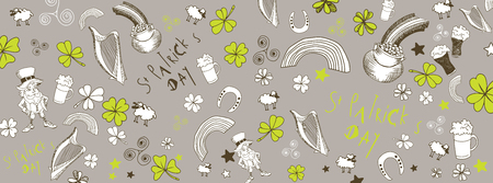 st patrick s day doodles illustrations full vector banner