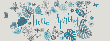 Sweet spring doodles full vector large banner