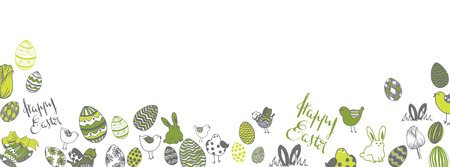 Happy easter doodles full vector large banner
