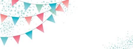 Sweet festive party pennants banner Vector Illustration