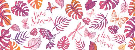 Sweet summer doodles full vector large banner